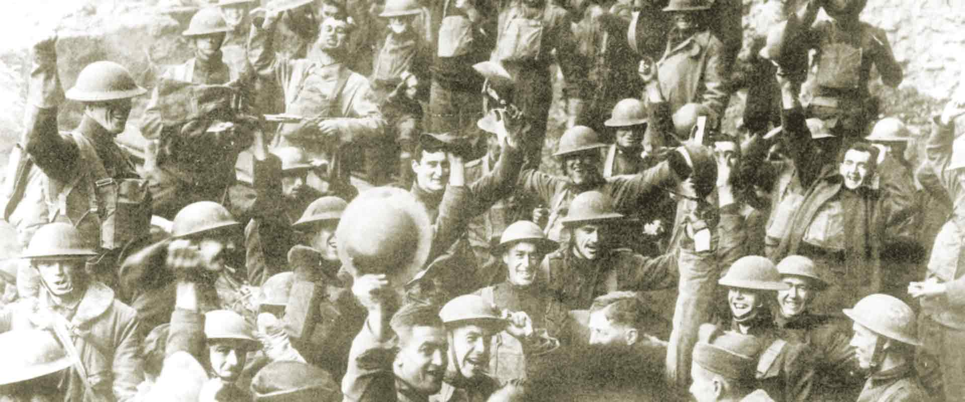 Soldiers celebrate end of First World War