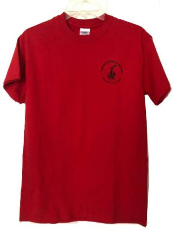 front of red Tshirt